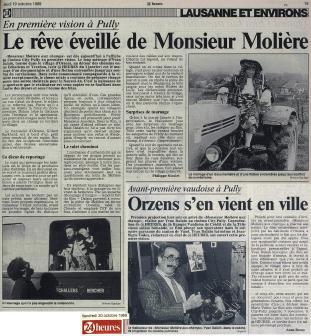 24heures 19 et 20 octobre 1989 Monsieur Moliere aux champs Orzens