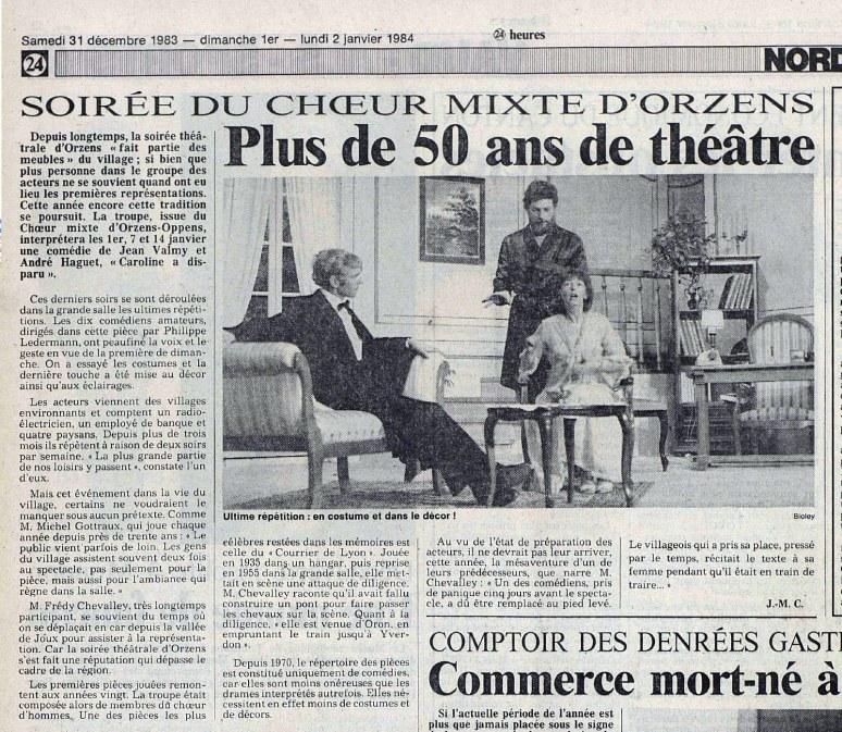 24heures 2-janv-1984 CAROLINE A DISPARU ORZENS