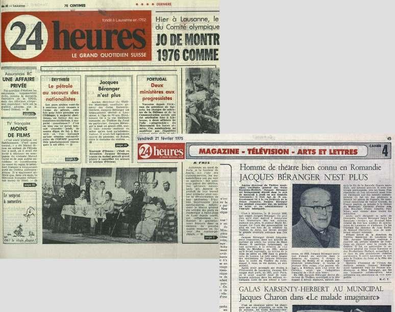 24heures 21 fevrier-1975 JACQUES BERANGER N-EST PLUS