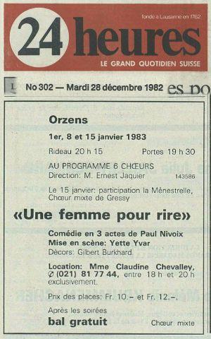 24heures 28 dec 1982 UNE FEMME POUR RIRE ORZENS