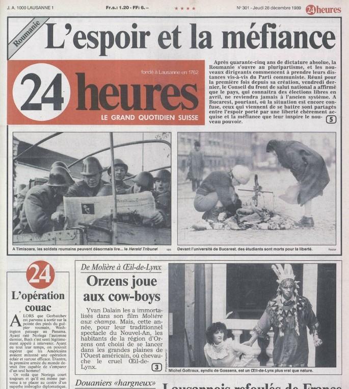 24heures 28 decembre 1989 page 1 DU VENT DANS LES BRANCHES DE SASSAFRAS ORZENS