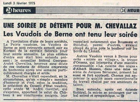 24heures 3-fevrier-1975 LA CUISINE DES ANGES a Bern