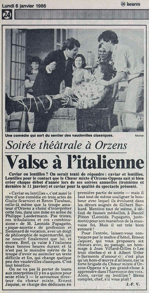 24heures 6-janv-1986 CAVIARD OU LENTILLES ORZENS