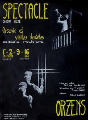 affiche Arsenic et vielles dentelles janvier-1988 Orzens