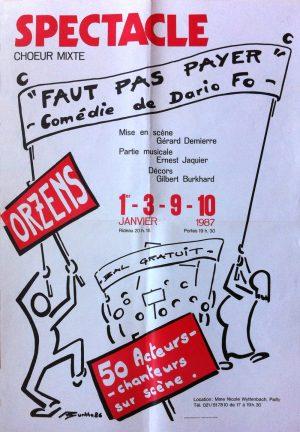 affiche FAUT PAS PAYER janvier-1986 Orzens