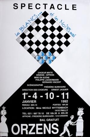affiche Les BLANCS et les NOIRS aussi janvier-1992 Orzens