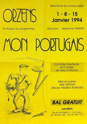 affiche MON PORTUGAIS janvier-1994 Orzens