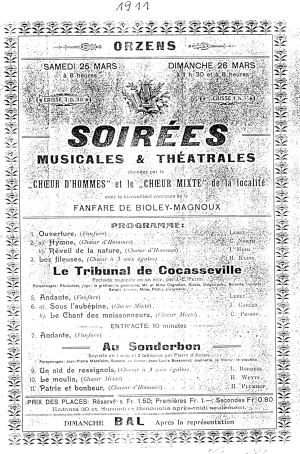 affiche Orzens mars 1911 soirees musicales et theatrales