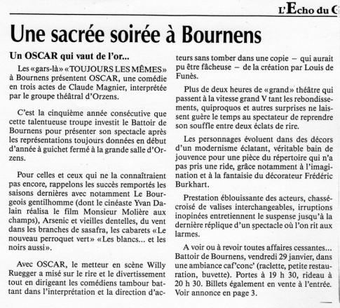 Echo du Gros de vaud OSCAR janvier1993 Bournens