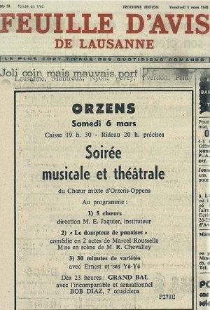 FEUILLE D AVIS DE LAUSANNE 05 mars 1965 LE DOMPTEUR DE PUNAISES Orzens