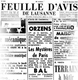 FEUILLE D AVIS DE LAUSANNE 15 dec 1955 LES MISTERES DE PARIS Orzens