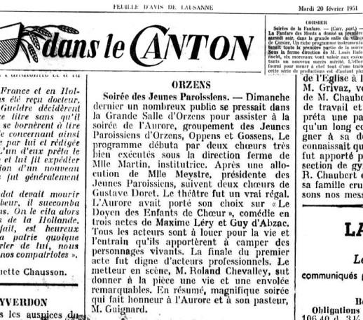 FEUILLE D AVIS DE LAUSANNE 20 fev 1951 Le Doyen des Enfants de Chœur Orzens