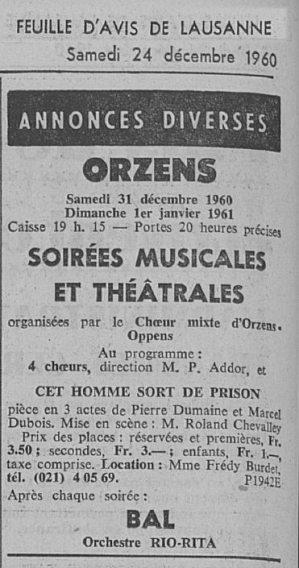 Feuille d Avis de Lausanne 24 decembre 1960 Cet homme sor de prison ORZENS