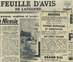 FEUILLE D AVIS DE LAUSANNE 27 dec 1963 LES DEUX GOSSES Orzens