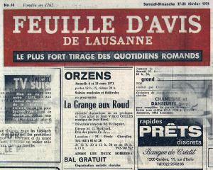 FEUILLE D AVIS DE LAUSANNE 27 fev 1971 LA GRANGE AU ROUX Orzens