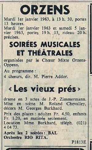FEUILLE D AVIS DE LAUSANNE 31 dec 1962 LES VIEUX PRES Orzens