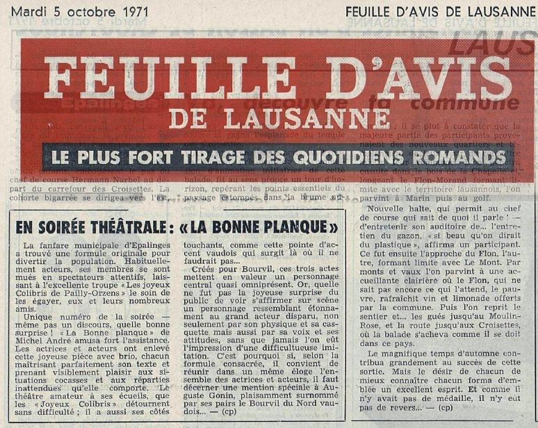 FEUILLE D AVIS DE LAUSANNE 5 oct 1971 troupe Pailly-Orzens LA BONNE PANQUE
