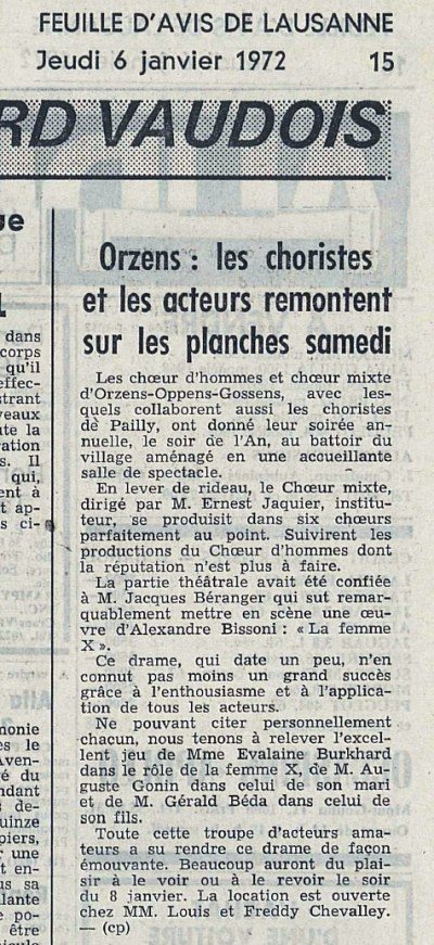 FEUILLE D AVIS DE LAUSANNE 6-janv-1972 LA FEMME X Orzens
