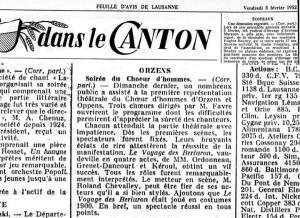 FEUILLE D AVIS DE LAUSANNE 8 fev 1952 le voyage de Berluron Orzens