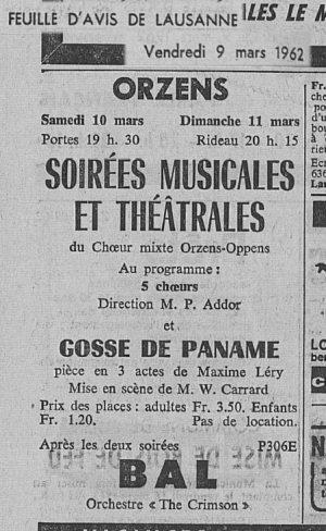 Feuille d Avis de Lausanne 9 mars 1962 Gosse de Paname ORZENS