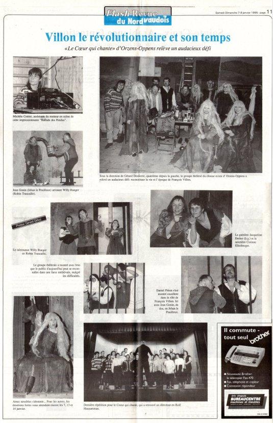 Flash Revue du Nord Vaudois 7 janvier1995 La balade des pendus Orzens