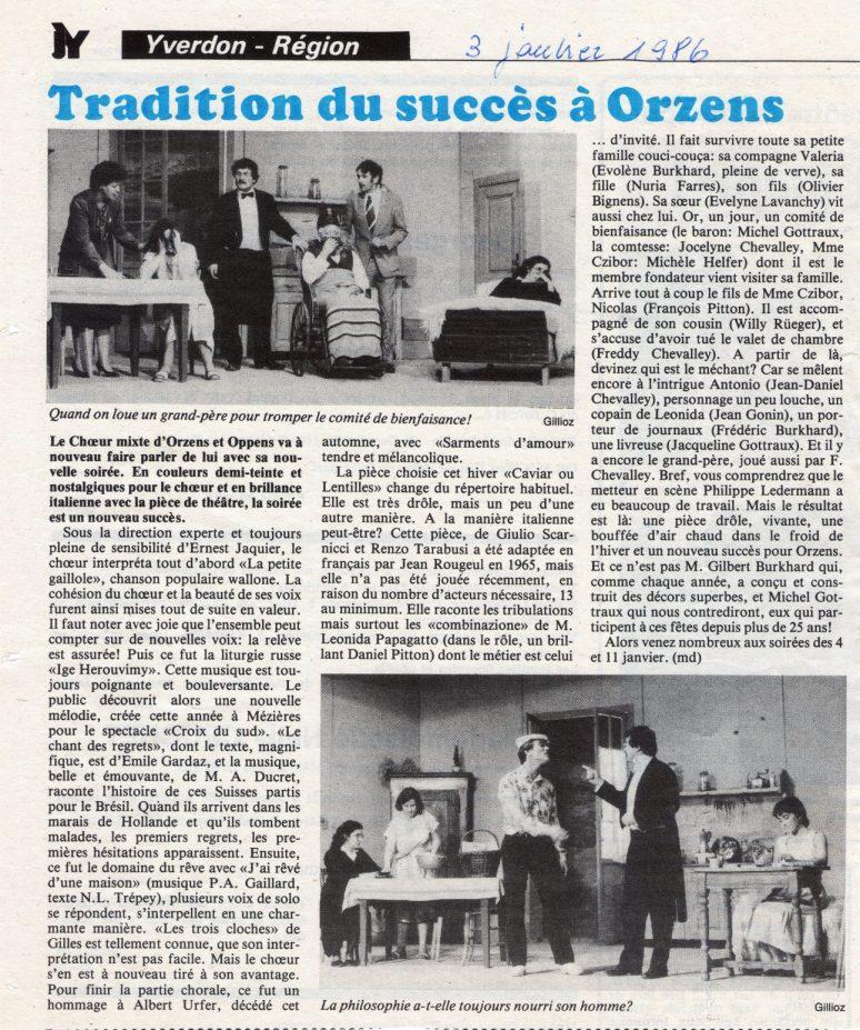 Journal d Yverdon 3-janv-1986 CAVIARD OU LENTILLES ORZENS