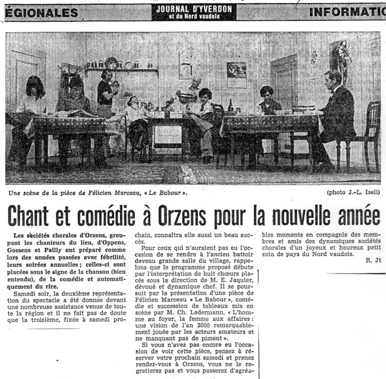 Journal d Yverdon BABOUR janvier 1979 Orzens