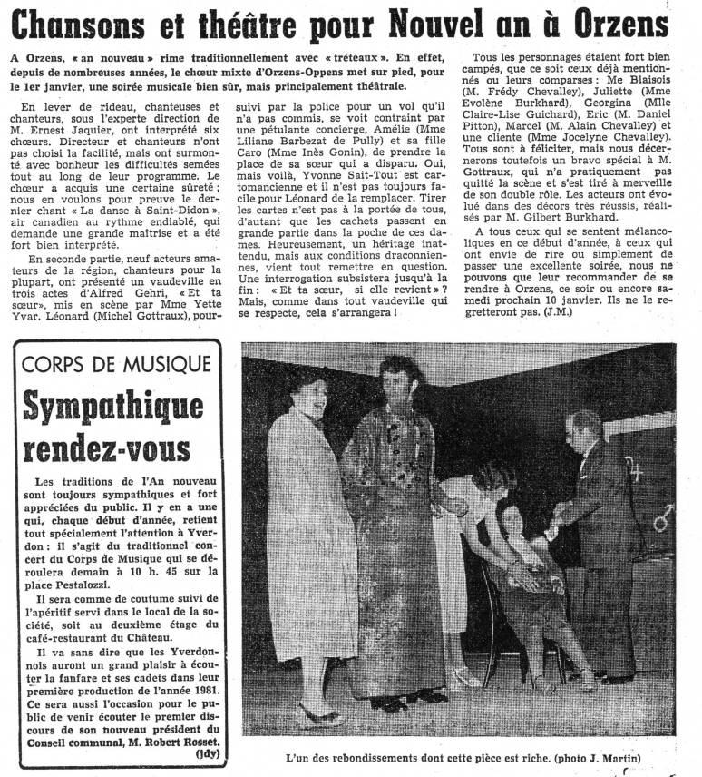 Journal d Yverdon ET TA SOEUR janvier 1981 Orzens