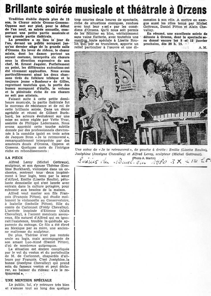 Journal d Yverdon JE TE RETROUVERAI janvier 1980 Orzens