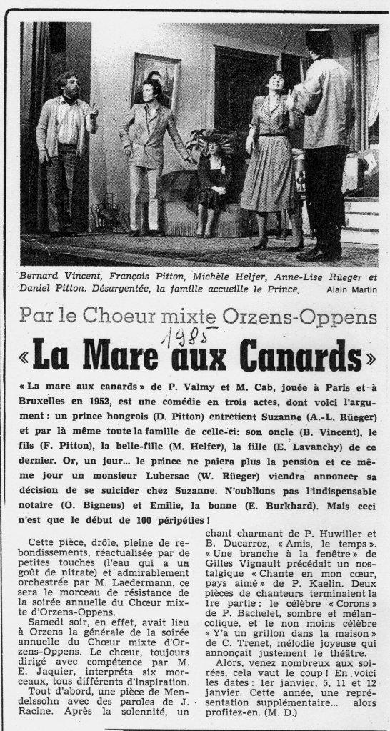 Journal d Yverdon LA MARE AUX CANARD janvier 1985 Orzens