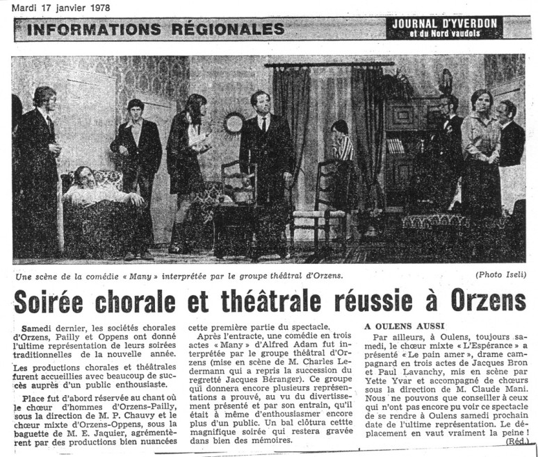 Journal d Yverdon MANY 17-janvier 1978 Orzens