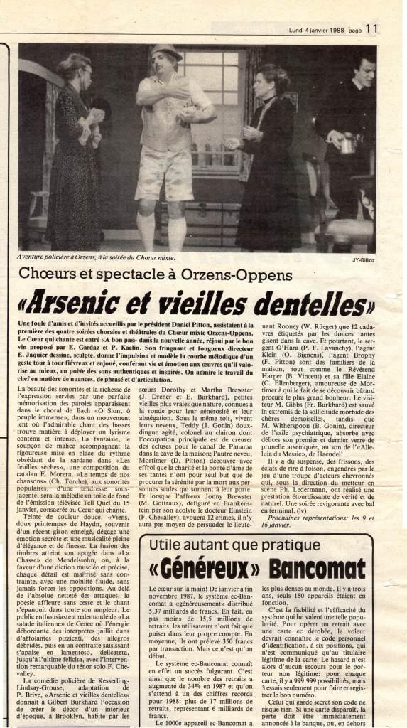 Journal d-Yveron 4-janv-1988 Arsenic et vieilles dentelles Orzens