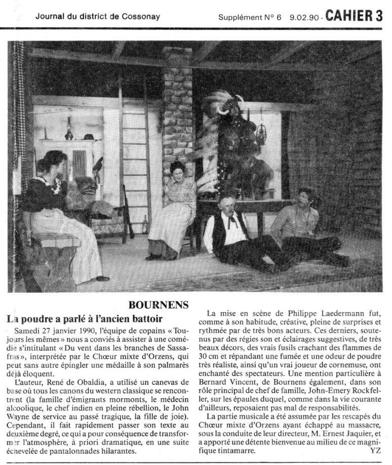 Journal de Cossonay 9 fevrier 1990 du vent dans les branches de sassafras Orzens