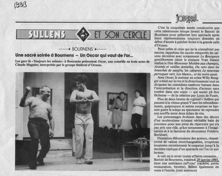 Journal de Cossonay janvier 1993 OSCAR Bournens