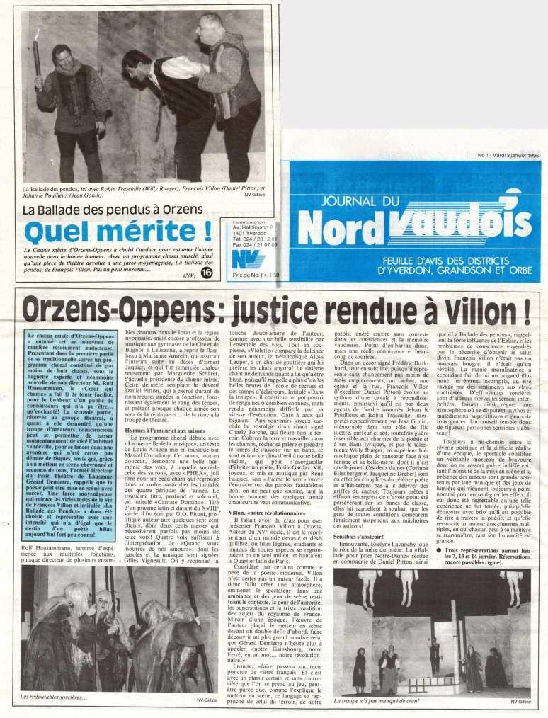 journal de nord vaudois 3-janvier-1995 La balade des pendus Orzens