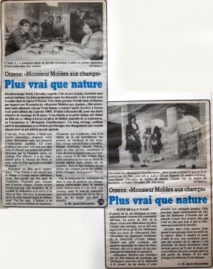 Journal du Nord vaudois 1989 pages 1 et 20 MONSIEUR MOLIERE AUX CHAMPS Orzens