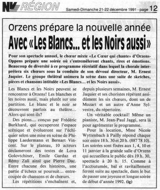 journal du Nord Vaudois 21 decembre 1991 les blancs et les noirs aussi Orzens