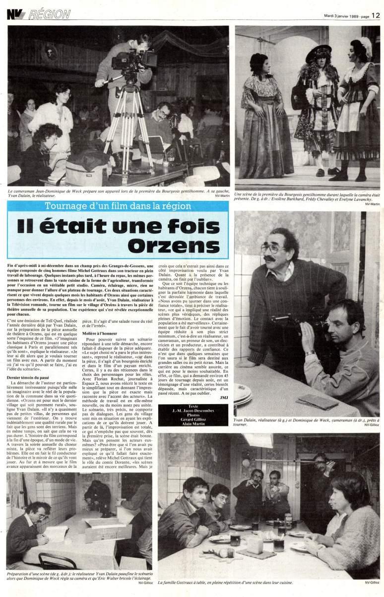 Journal du Nord vaudois 3 janvier 1989 page11 Monsieur Moliere aux champs Orzens
