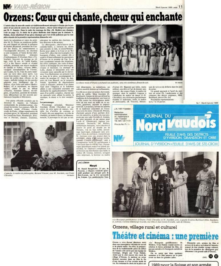 Journal du Nord vaudois 3 janvier 1989 pages 1et11 Orzens