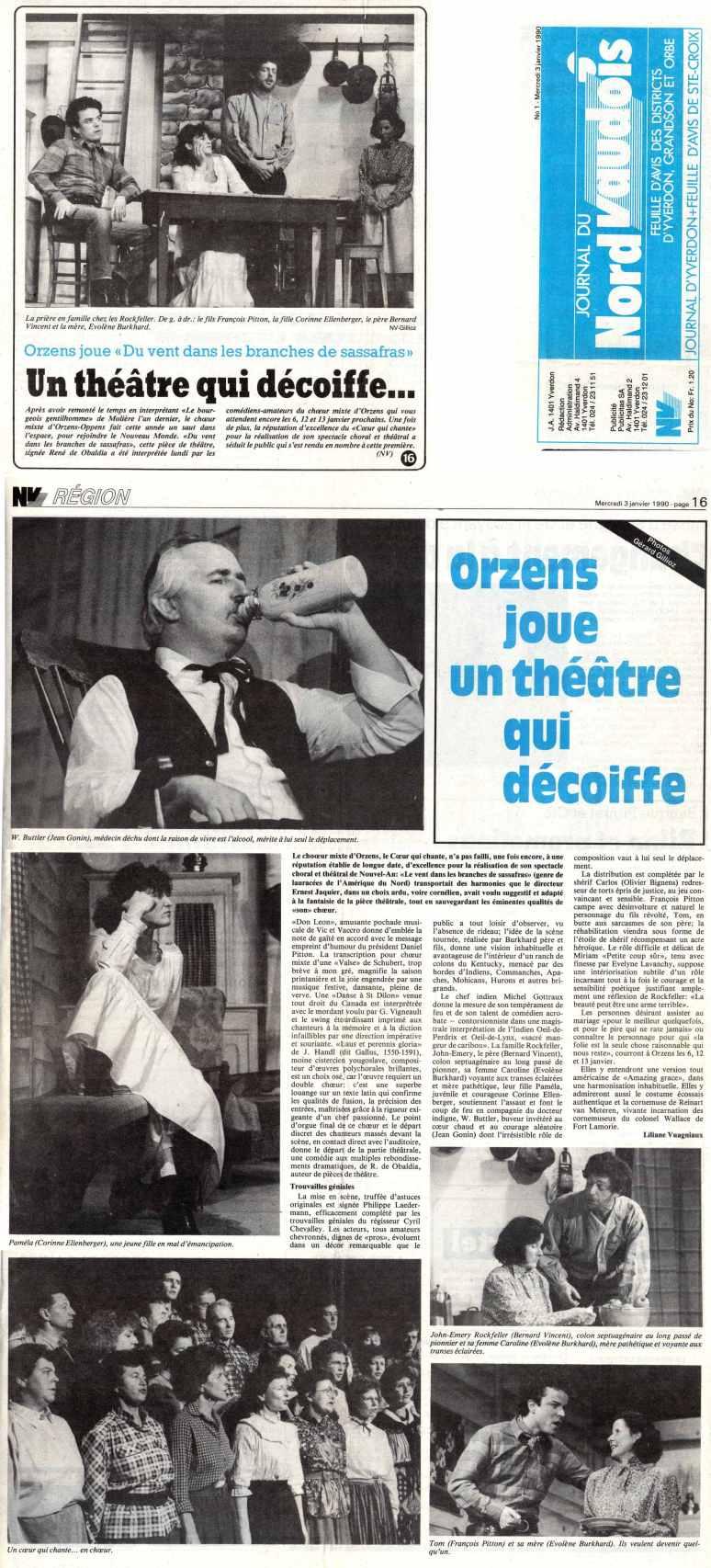 Journal du Nord vaudois 3 janvier 1990 du vent dans les branches de sassafras Orzens