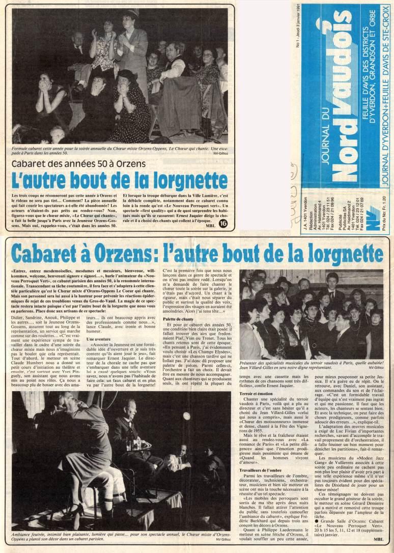 journal du Nord Vaudois 3 janvier 1991 Perroquet Vert Orzens