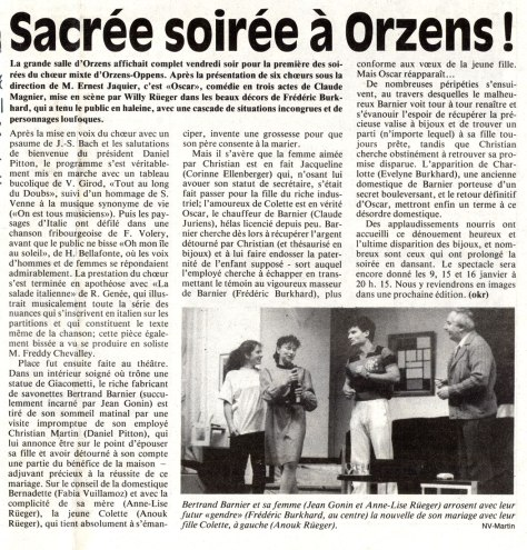 Journal du Nord vaudois 4 janvier 1993 OSCAR Orzens