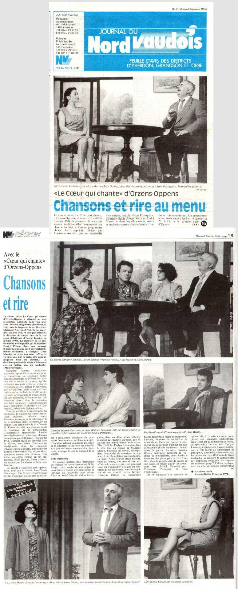 Journal du Nord vaudois 5 janvier1994 mon Portuguais Orzens