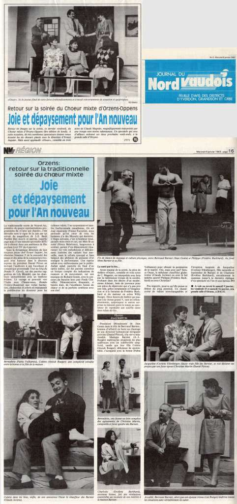Journal du Nord vaudois 6 janvier 1993 OSCAR Orzens