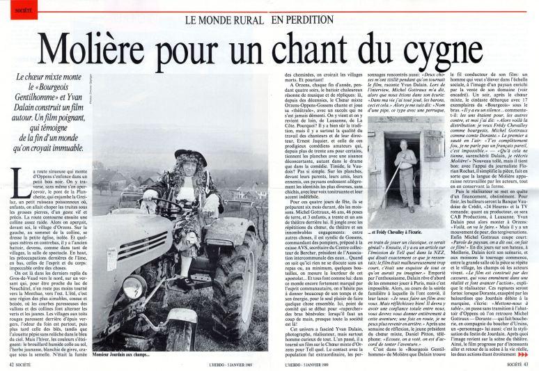 L-HEBDO 5 janvier 1989 Monsieur Moliere aux champs Orzens pages 42-43