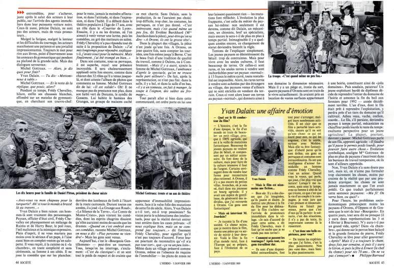 L-HEBDO 5 janvier 1989 Monsieur Moliere aux champs Orzens pages 44-45