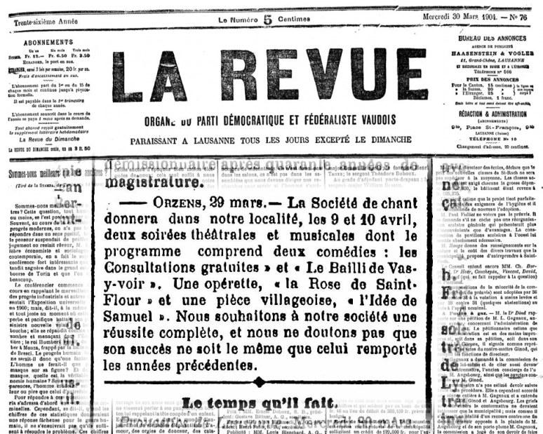 LA REVUE 30 mars 1904 soiree theatrale ORZENS