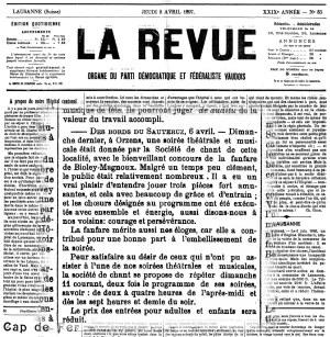 LA REVUE 8 avril 1897 soiree theatrale ORZENS