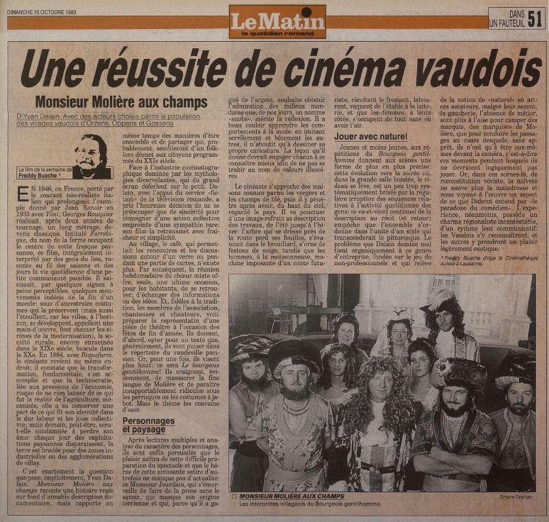 Le Matin 15 octobre 1989 Monsieur Moliere aux champs Orzens