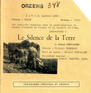 Le silence de la terre PROGRAME 1969 Orzens page de garde